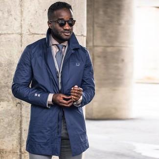 How to wear: grey dress pants, beige dress shirt, grey cotton blazer, navy trenchcoat
