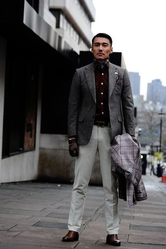 How to Wear Dark Brown Leather Gloves For Men: Consider teaming a grey plaid trenchcoat with dark brown leather gloves for a casual menswear style with an urban finish. Brown leather chelsea boots will inject a dose of class into an otherwise too-common ensemble.