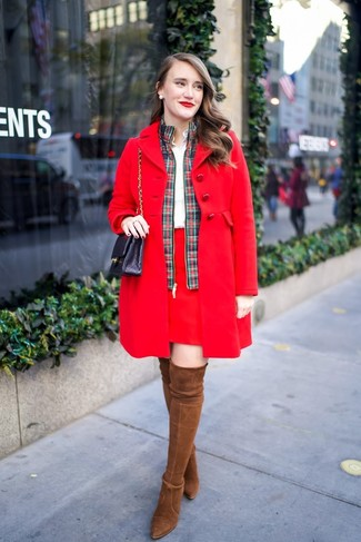 How to wear: red mini skirt, white dress shirt, green and red plaid bomber jacket, red coat
