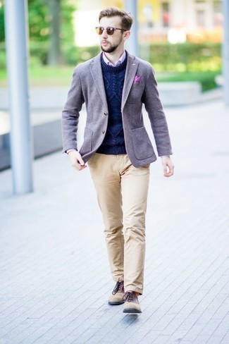 How to Wear a Pink Vertical Striped Dress Shirt For Men: A pink vertical striped dress shirt and khaki chinos are an easy way to introduce a hint of masculine sophistication into your day-to-day casual lineup. Boost the formality of this look a bit by slipping into tan suede oxford shoes.