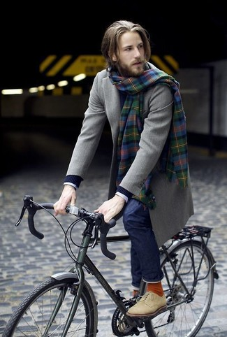 How to wear: navy jeans, white check dress shirt, navy cable sweater, olive overcoat