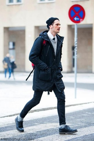 How to wear: navy skinny jeans, white dress shirt, grey cable sweater, navy parka