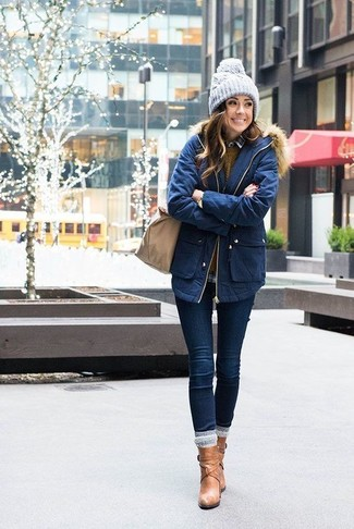 How to wear: navy skinny jeans, grey plaid dress shirt, mustard cable sweater, navy parka