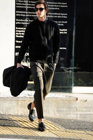 How to Wear a Black Raincoat For Men: This pairing of a black raincoat and olive dress pants couldn't possibly come across other than seriously stylish and sophisticated. A pair of black leather loafers will spruce up any look.