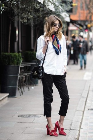 How to wear: white dress shirt, black capri pants, red suede pumps, black leather crossbody bag