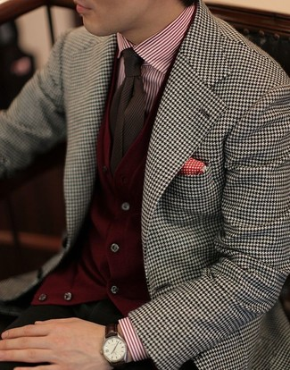 How to wear: olive chinos, white and red vertical striped dress shirt, burgundy cardigan, white and black houndstooth blazer