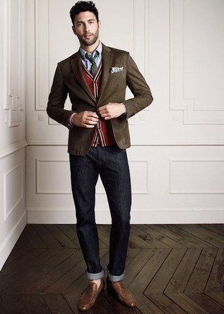 How to wear: charcoal jeans, light blue chambray dress shirt, red cardigan, dark brown blazer