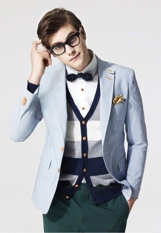 How to wear: dark green chinos, white dress shirt, white and navy horizontal striped cardigan, light blue blazer