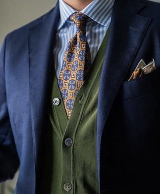 How to wear: orange print tie, white and blue vertical striped dress shirt, olive cardigan, navy blazer
