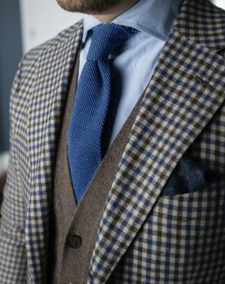 How to wear: navy knit tie, light blue dress shirt, olive cardigan, brown gingham wool blazer