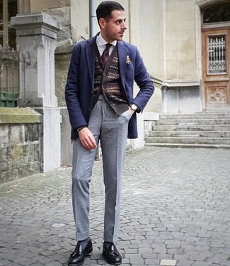 How to wear: grey wool dress pants, white dress shirt, dark brown fair isle cardigan, navy wool blazer