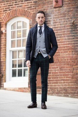 How to wear: navy and green plaid dress pants, white dress shirt, grey cardigan, black quilted blazer