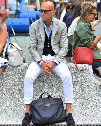 How to wear: white chinos, light blue dress shirt, navy cardigan, grey blazer