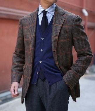 How to wear: charcoal wool dress pants, light blue vertical striped dress shirt, navy cardigan, dark brown check wool blazer