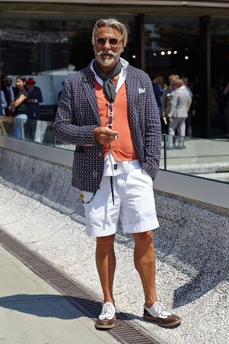How to wear: white shorts, white dress shirt, orange cardigan, navy print blazer