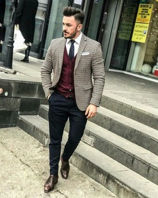 How to wear: black dress pants, white dress shirt, burgundy cardigan, brown check blazer