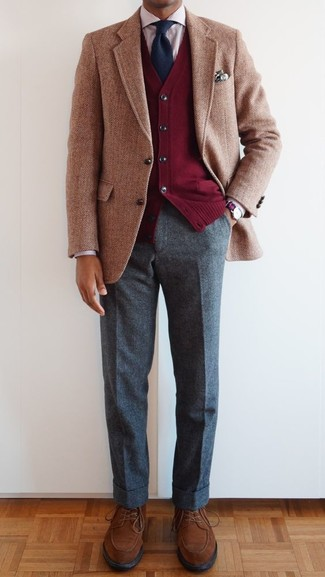 How to wear: grey wool dress pants, red vertical striped dress shirt, red cardigan, tan herringbone wool blazer