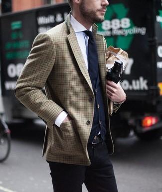 How to wear: black chinos, white dress shirt, navy cardigan, brown houndstooth blazer