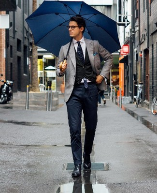 How to wear: navy chinos, white dress shirt, black cardigan, grey blazer