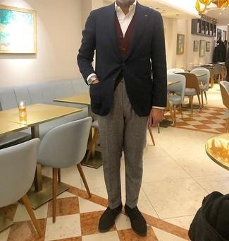 How to wear: grey wool dress pants, white dress shirt, burgundy cardigan, navy blazer