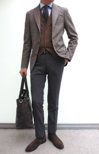 How to Wear Dark Brown Suede Chelsea Boots For Men: This polished combo of a brown plaid blazer and charcoal dress pants will be a true manifestation of your styling prowess. Our favorite of a multitude of ways to finish this getup is with dark brown suede chelsea boots.