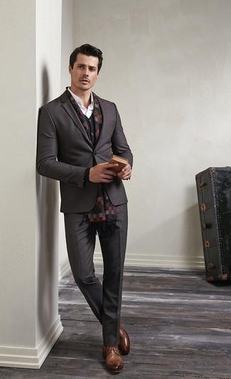 4f42e04efc4 How to wear: charcoal dress pants, white dress shirt, black cardigan,  charcoal