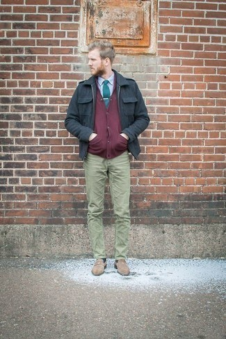 How to Wear Beige Suede Loafers For Men: Team a navy suede harrington jacket with olive chinos to assemble an interesting and modern-looking relaxed ensemble. If you want to feel a bit fancier now, complement this outfit with beige suede loafers.