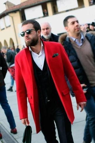 How to wear: navy dress pants, white dress shirt, black cardigan, red overcoat