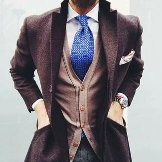 How to wear: grey check wool dress pants, white dress shirt, tan cardigan, dark brown overcoat
