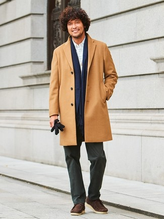 How to wear: black chinos, white check dress shirt, grey cardigan, camel overcoat