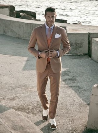 How to wear: white and brown leather brogues, light blue dress shirt, orange cardigan, tan suit