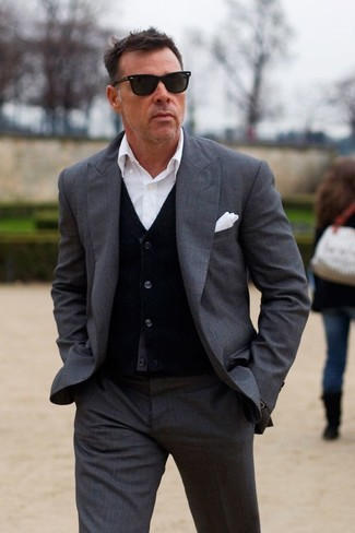How to wear: white pocket square, white dress shirt, black cardigan, charcoal suit