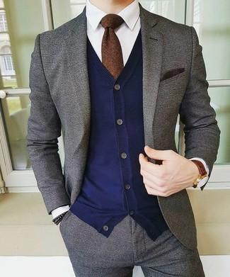How to wear: dark brown tie, white dress shirt, navy cardigan, grey wool suit