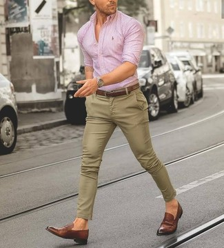 How to wear: pink vertical striped dress shirt, khaki chinos, brown leather loafers, brown leather belt