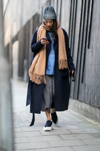 How to wear: grey culottes, blue dress shirt, navy coat, tan shawl