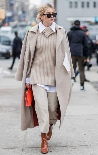 How to wear: beige culottes, white dress shirt, beige cowl-neck sweater, beige coat