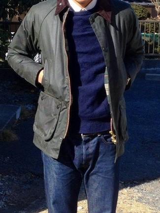 How to wear: navy jeans, white dress shirt, navy crew-neck sweater, black barn jacket