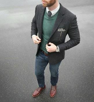 How to wear: navy jeans, white check dress shirt, dark green crew-neck sweater, charcoal wool blazer