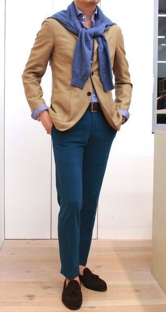 How to wear: teal chinos, blue gingham dress shirt, blue crew-neck sweater, tan wool blazer