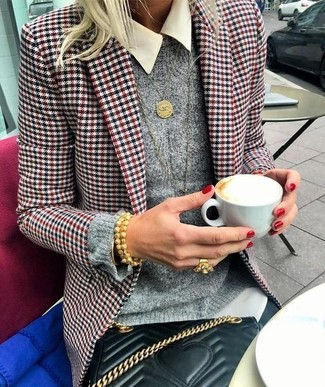 How to wear: black skinny jeans, white dress shirt, grey crew-neck sweater, white and red and navy houndstooth blazer