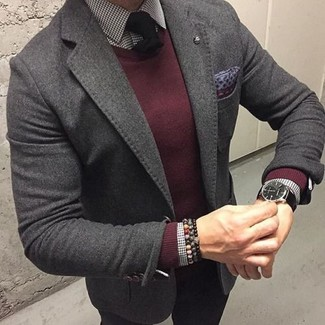 How to wear: black chinos, white and black gingham dress shirt, burgundy crew-neck sweater, charcoal wool blazer
