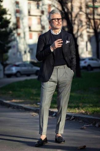 How to wear: grey wool dress pants, white dress shirt, black crew-neck sweater, black blazer