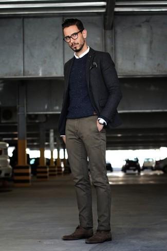 How to wear: charcoal chinos, white dress shirt, navy knit crew-neck sweater, black blazer