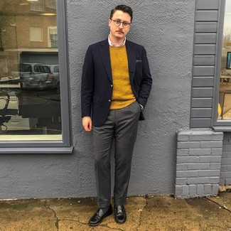 How to wear: charcoal wool dress pants, white dress shirt, mustard crew-neck sweater, navy blazer
