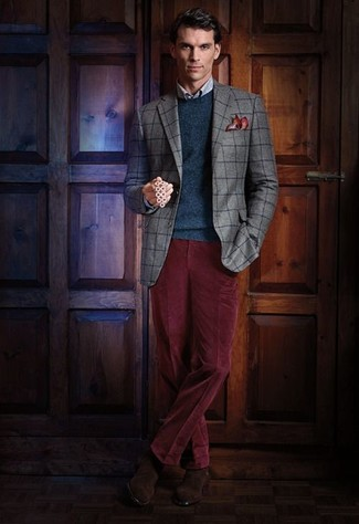 How to wear: burgundy corduroy dress pants, light blue check dress shirt, teal crew-neck sweater, grey check blazer