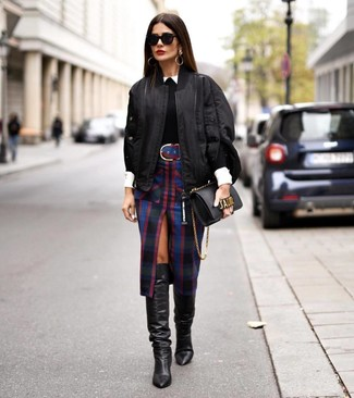 How to wear: black plaid pencil skirt, white dress shirt, black crew-neck sweater, black bomber jacket