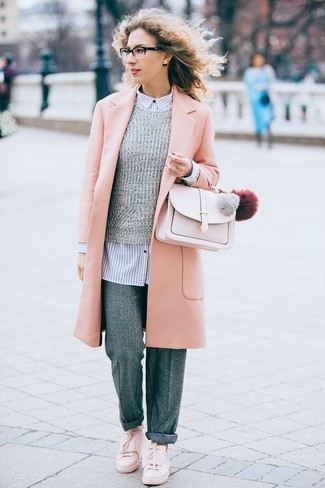 How to wear: grey wool wide leg pants, white and navy vertical striped dress shirt, grey crew-neck sweater, pink coat