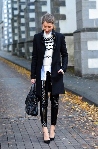 How to wear: black leather skinny pants, white dress shirt, white and black fair isle crew-neck sweater, black coat