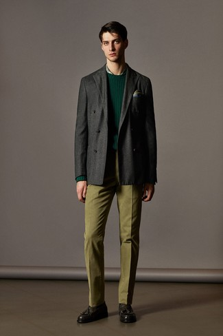 How to wear: olive dress pants, green plaid dress shirt, dark green crew-neck sweater, charcoal wool double breasted blazer