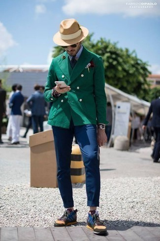 How to Wear a Light Blue Dress Shirt For Men: You're looking at the definitive proof that a light blue dress shirt and navy chinos look awesome when combined together. When this look is just too much, play it down by slipping into multi colored athletic shoes.